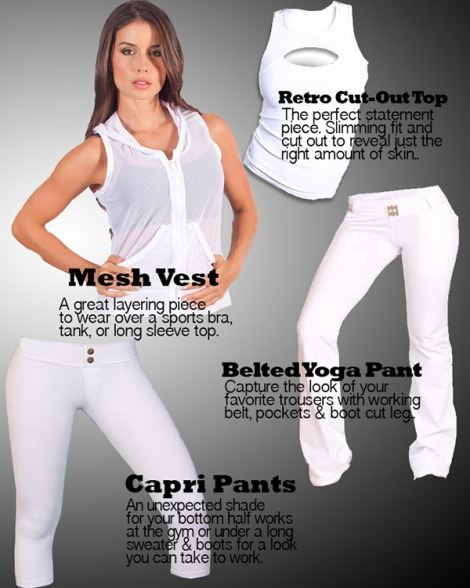 Winter White Fitness Wear at Palmbeachathleticwear.com