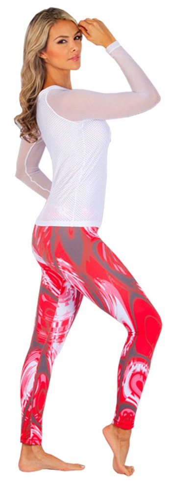 Protokolo Activewear Red Graphic Print Leggings, paired with PK-033-White-150.jpg Long Sleeve Mesh Top -Love this Look!