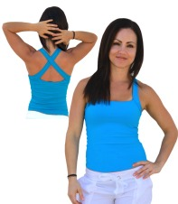 Multi Way Square Neck Cross Back Tank-Blue -Avail in S,M,L for just, $29.99!!!