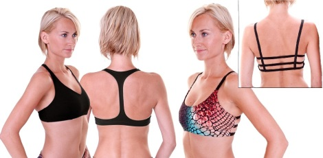 Onzie Sports Bras - Left, Racer Sport & Right, Cobra