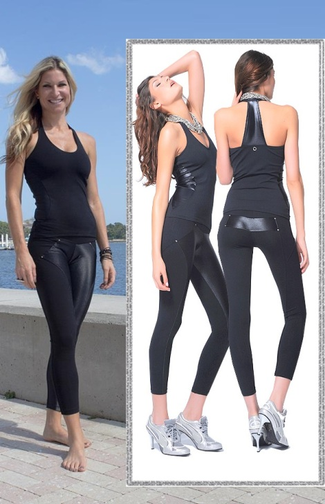 Brooke is wearing the Bluefish Sport Love-It Halter Top and Love-It Leggings