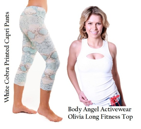 Cobra print capri pants & Body Angel Fitness top