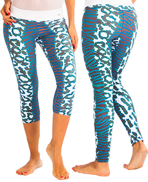 Protokolo Blue Animal Print Yoga Capri or Fitness Leggings