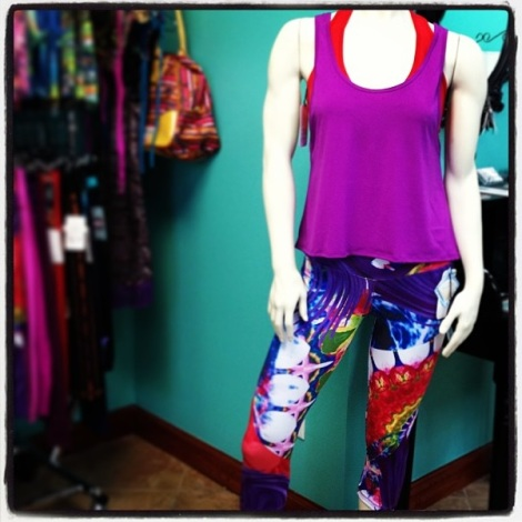 Protokolo Passion Print workout pants, rosebud muscle tank & T-Back Sexy Sports Bra -This look will kick off your Monday with HEAT!