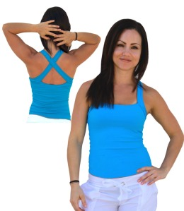 Blue Multi Way Square Neck Cross Back Tank by Protokolo, $19.99!!!