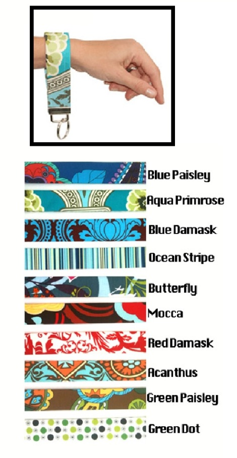 Unique Wristlets -Hold keys for hands free life! 10 fabric choices!