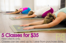 Get 5 yoga classes for $35. Valid up to 1 year from purchase date. New Clients only.
