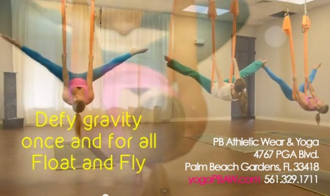 The Palm Beach Athletic Wear Yoga Studio offers Aerial Yoga for all levels.