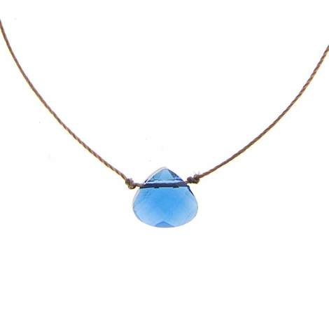 SoulKu Shine Necklace - A beautiful blue glass cut crystal.