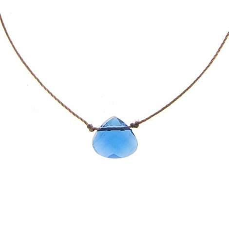 SoulKu Shine Necklace - A beautiful blue glass cut crystal.