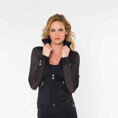 Women's fashion-forward activewear jacket in black.